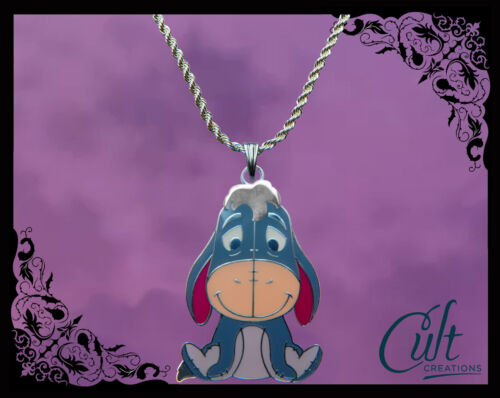 faux leather necklace with Eeyore Disney Winnie The Pooh sterling silver