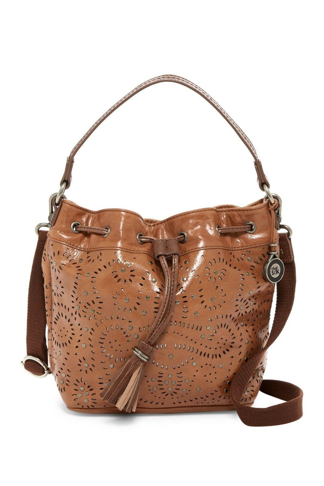 The Sak 245591 Womens Ukiah Perforated Leather Drawstring Bucket Bag Tan