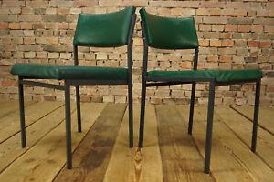 70er Vintage Esszimmer Stuhl Vinyl Grun Retro Lounge Chair Sessel