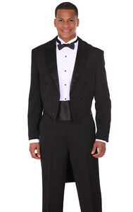 Men's 2pc Long Tail Tuxedo Poly Gabardine Suit T505 Black And White Wedding & Formal Occasion