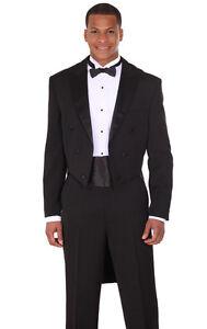 Men's 2pc Long Tail Tuxedo Poly Gabardine Suit T505 Black And White Men's Clothing Suits & Suit Separates