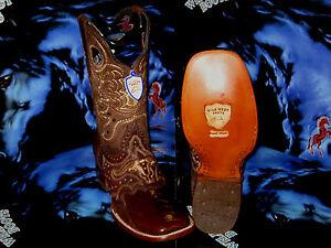 WILD-WEST-GENUINE-OSTRICH-LEG-SQUARE-BROWN-RODEO-WESTERN-COWBOY-BOOT-EE-2820507