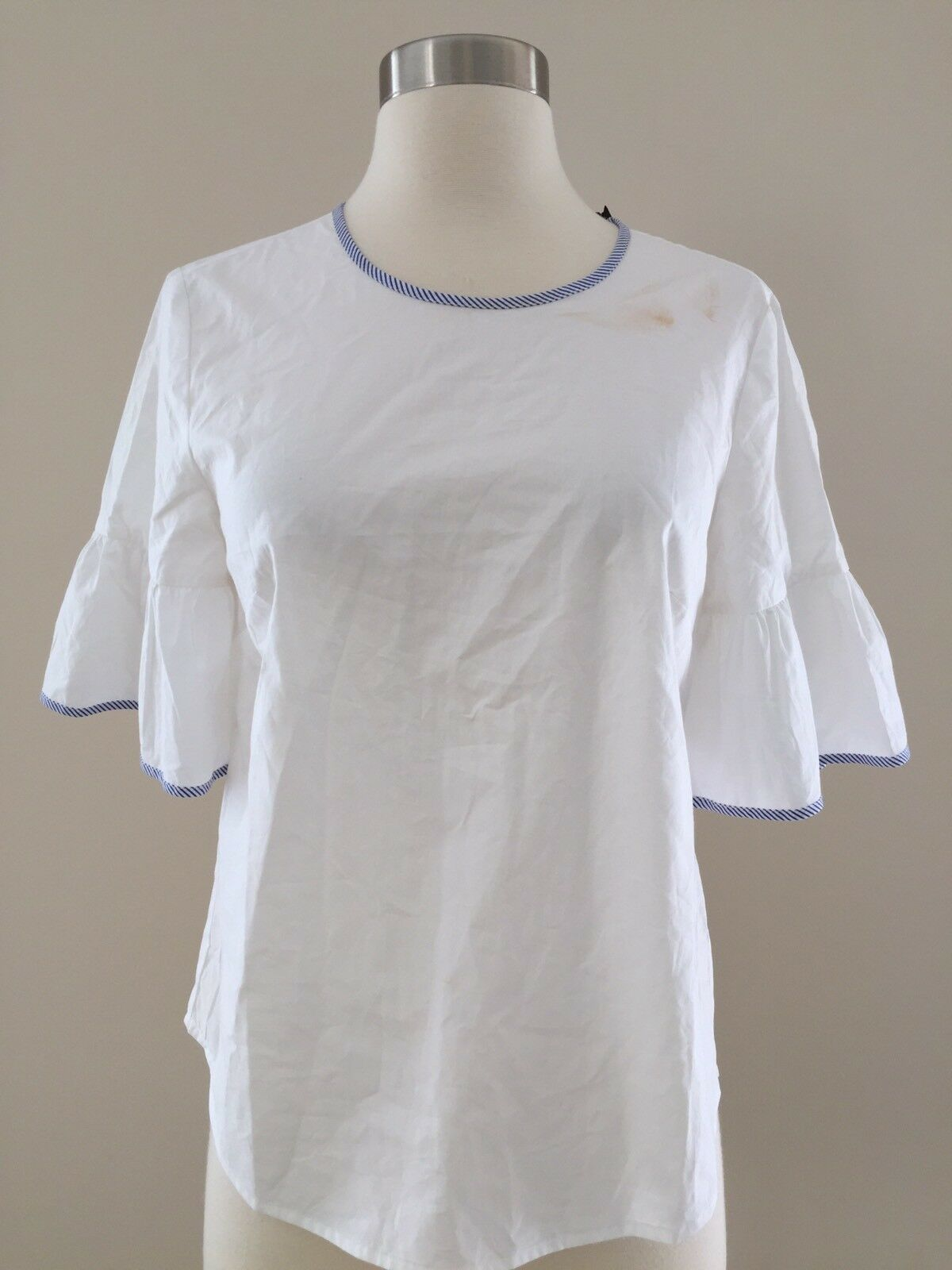 NWT JCREW G2826 Tipped button-back bell-sleeve top shirt 0 SOLD-OUT