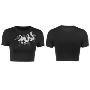 Gothic Summer Black Crop Tops Vintage Embroidery Women Aesthetic T-Shirts