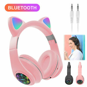 Bluetooth-Wireless-Cat-Rabbit-Ear-Headsets-LED-w-Mic-Headphones-For-Kids-Girls