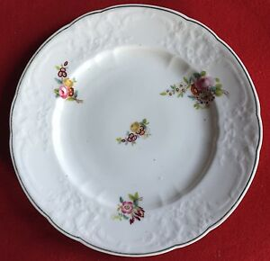 Antique 19th c. Coalport Porcelain Dish Dinner Plate Flowers Floral 1820