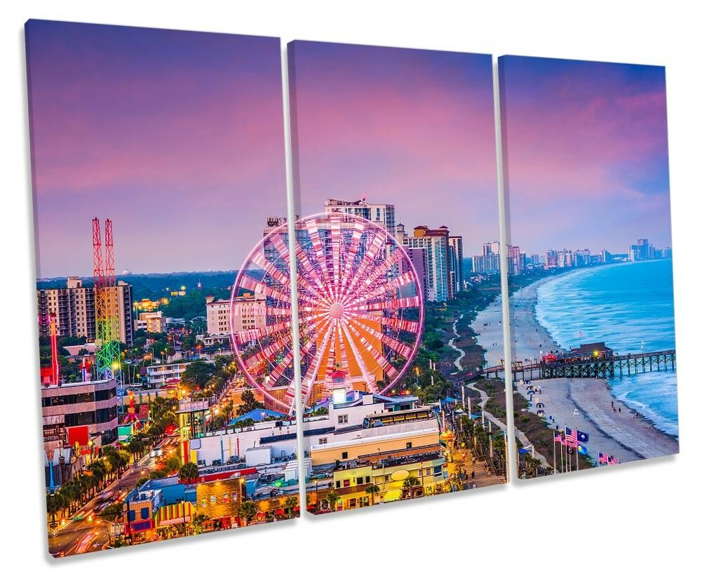 Myrtle Beach South Carolina Framed TREBLE CANVAS PRINT Wall Art Art Art 1a883e
