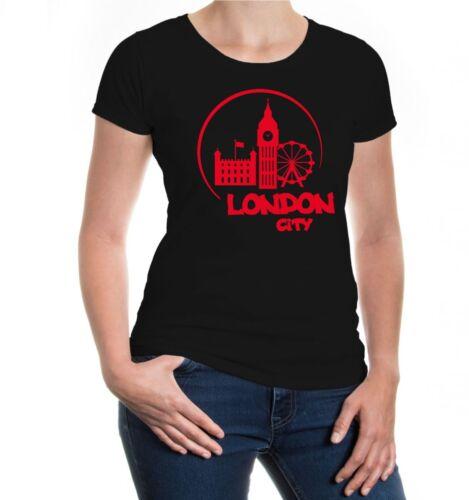 Damen Kurzarm Girlie T-Shirt London City Silhouette Stadt England Metropole