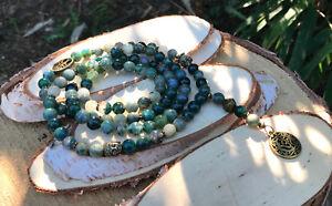 Mala-Kette-108-Perlen-Om-Buddha-Lotus-Lebensbaum-Moosachat-Achat-Bronze