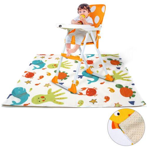 Cartoon Animal Printed No Mess Floor Mat Anti-slip Baby High Chair Splash Cover