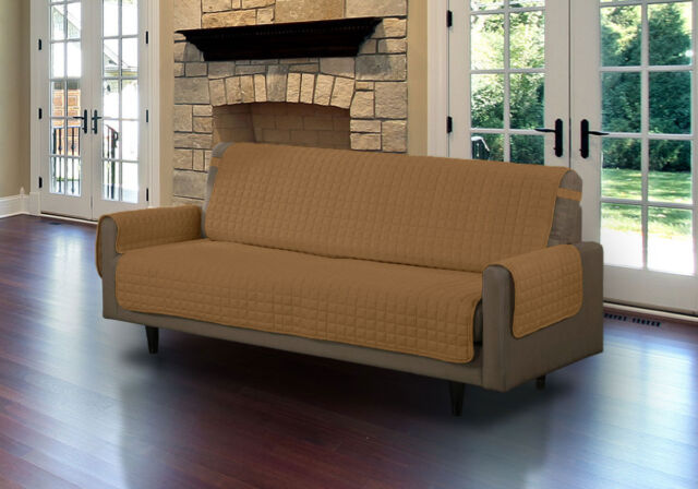 Linen Quilted Microfiber Pet Furniture Protector Cover With Tucks And Straps Camel Sofa Ebay