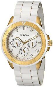 Bulova Women's Quartz Chronograph Gold Tone Case Multi Dial 40mm Watch 98N102