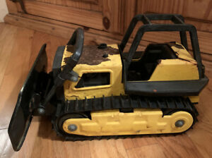 Vintage-1980s-Tonka-Pressed-Steel-Bulldozer-Construction-Vehicle-Toy-Yellow