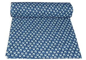 5 Yard Hand Block Print Handmade Cotton Indian Natural Sanganeri Print Fabric.