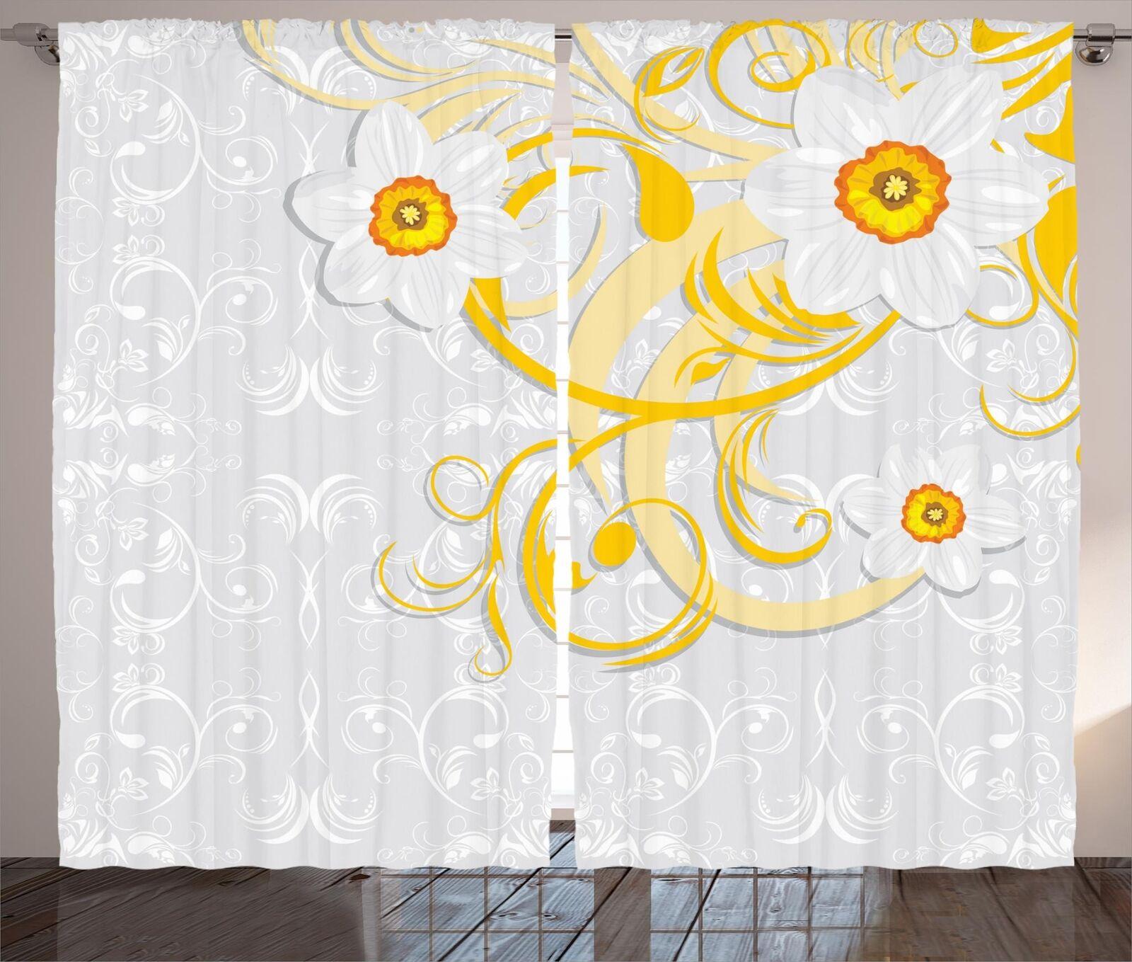 Conjunto de 2 Paneles Cortinas daffaodil Decoración 5 tamaños de ventana Cortinas ambesonne