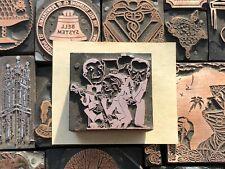 Antique Vtg Music Band Sax Cartoon Letterpress Print Type Cut Ornament Block