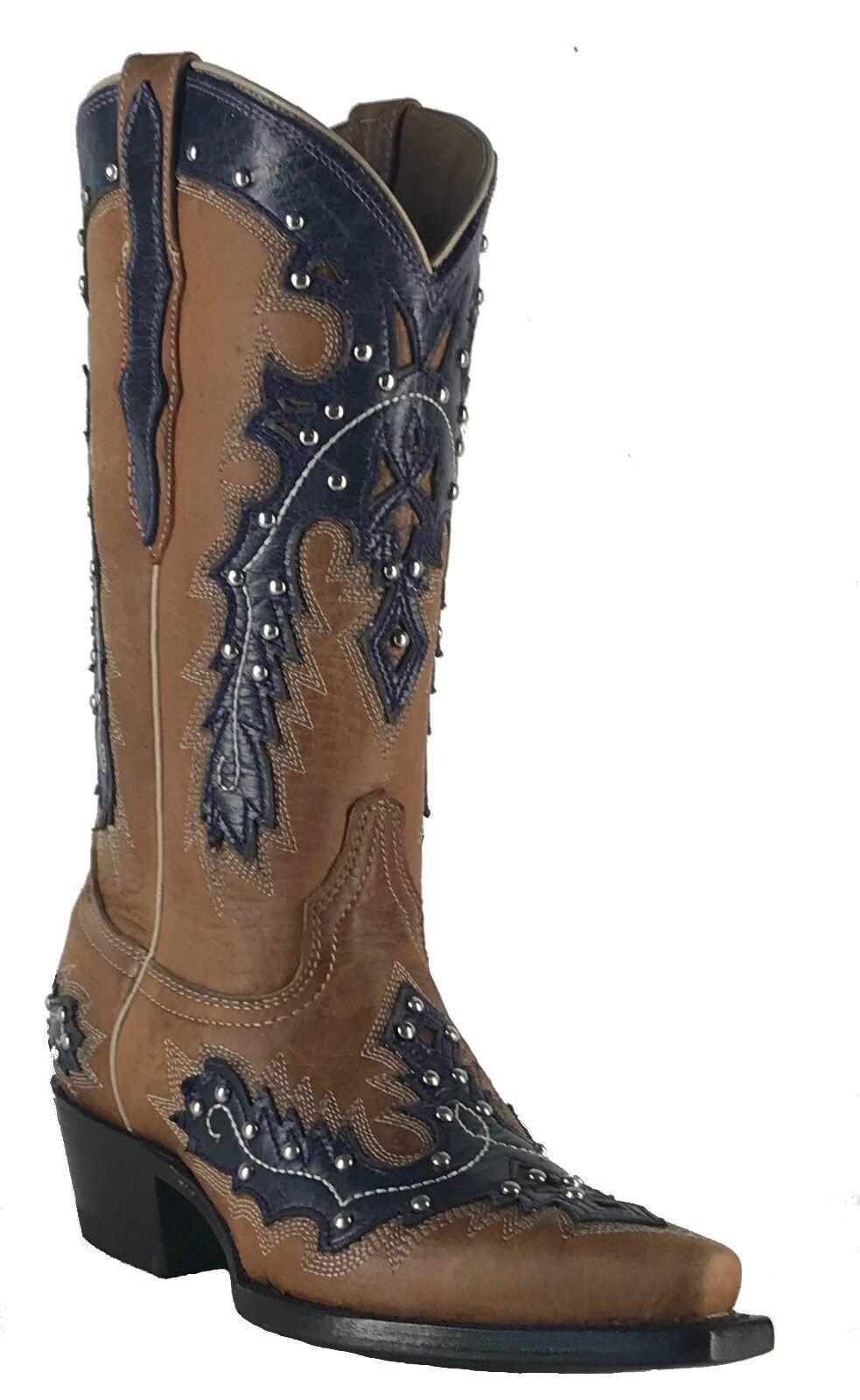 Women's Women's Women's New Leather Studs Cowgirl Western Biker Boots Snip Brown Purple Sale 7066b0