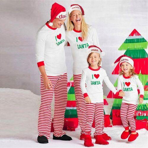 Family Matching Christmas Pajamas Set Women Baby Kids SANTA Sleepwear Nightwear