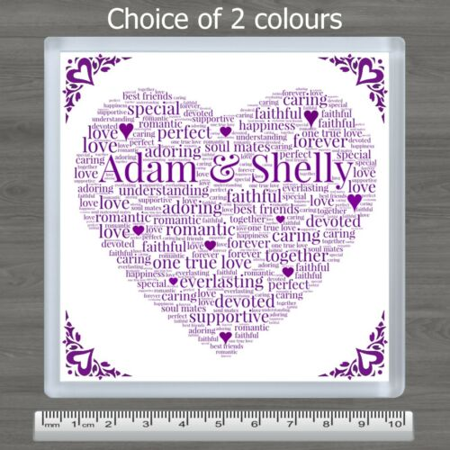 Personalised Word Art Love Heart Drinks Coaster Birthday Gift For Him or Her