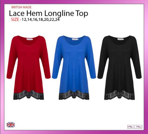 New Ladies Women Lace Hem Longline 3//4 Sleeves Top Plus Sizes 12-24