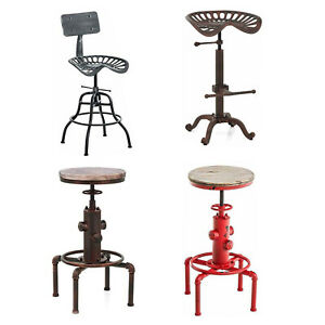 Details about Industrial Counter Height Bar Stools Swivel Backless Tractor  Seat Kitchen Chairs
