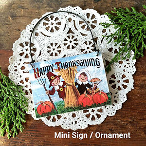 DecoWords-Wood-Ornament-HAPPY-THANKSGIVING-Hanger-Pilgrims-Holiday-NEW-Decor-Pkg