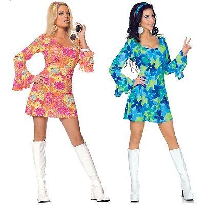 Go Go Girl Costume Adult 60s 70s Hippie Dancer Halloween Fancy Dress