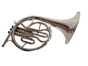 CHRISTMAS-SALE-MELLOPHONE-FRENCHHORN-BB-F-PITCH-CHROME-FINISH-W-CASE-amp-MOUTHPIECE