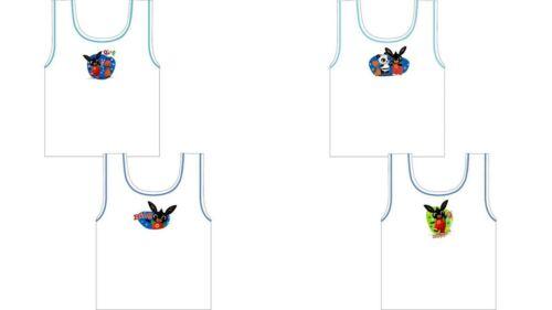 Garçons Enfants Personnage Bing 2 Pack gilet hoppity Voosh Blanc 100/% Coton sous-vêtements