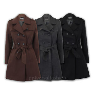 a67254b92ef Ladies Coat Womens Jacket Wool Look Tweed Double Breasted Trench ...
