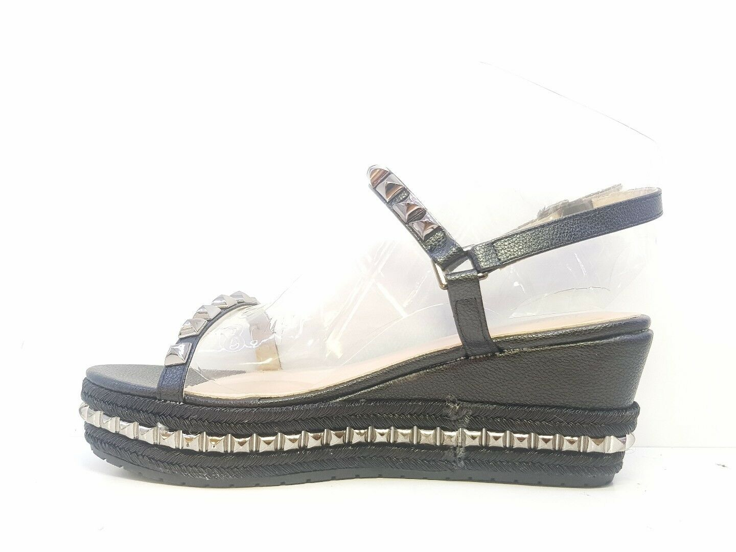 Big Dreams Ladies Black Studded Size Wedge Open Toe Sandals Size Studded d8ce06