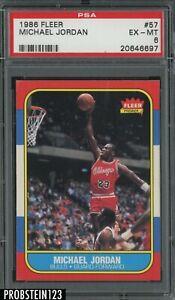 1986-87 Fleer Basketball #57 Michael Jordan RC Rookie HOF PSA 6 SHARP CORNERS