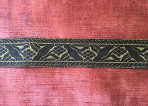 """Antique French Metallic Gold Bronze Trim fabric Border 1"""" wide Made in France"""