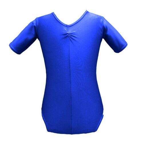 ROYAL BLUE Dance Leotard AGE 2-18 Short Sleeved Shiny Nylon Girls Gymnastics Tap