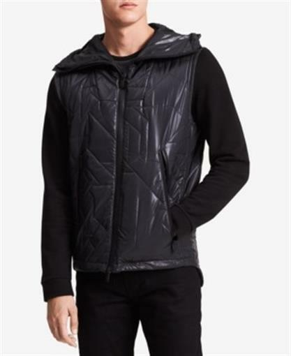 Calvin Klein Ck One Geometric Quilted JacketVest Black Mens Large New