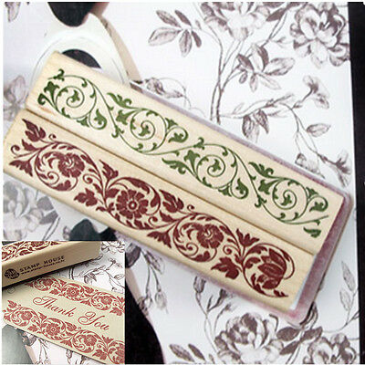 Wooden Rubber Stamp Vintage Flower Lace Floral Diary Cards Decoration Craft