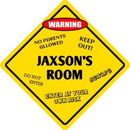 """*Aluminum* Jaxson/'s Room Kids Room Door 12/""""x12/""""  Metal Novelty Sign"""