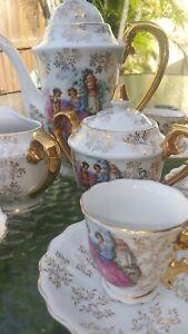 Antique-Porcelain-Tea-Demitasse-Set-for-6-Hand-Painted-Gold-Trim-17-PCS-EXC