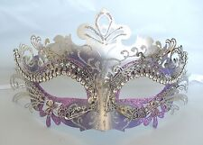 Purple & Silver Metal Masquerade Mask - Express Post Option Available