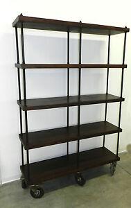 Libreria scaffale mobile vintage in stile industriale legno e ferro con ruote ebay - Ruote per mobili vintage ...