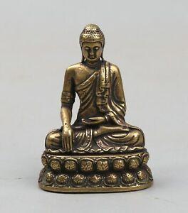 45MM-Collection-Chinese-Bronze-Buddhism-Sakyamuni-Tathagata-Buddha-Amulet-Statue