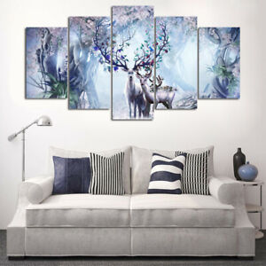 Abstract Floral Deer Fantasy Family 5 Pcs Hd Art Wall Home Decor Canvas Print Ebay