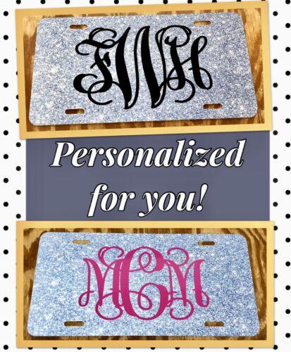 Personalized License Plate Monogram Silver Imitation Glitter Car Tag Initials