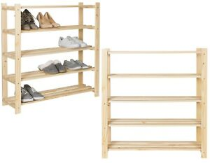 Details About Pine Wood Wooden Shoes Stand Shelf Shelves 5 Tier Shoe Rack Home Tidy Organiser