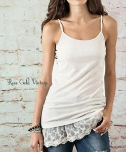 39821833852 Image is loading NWT-Boutique-Umgee-Lace-Extender-Tank-Top-Oatmeal-