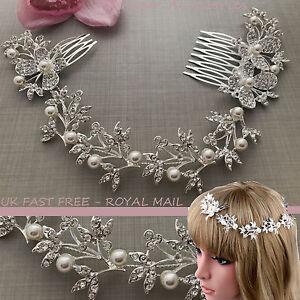 Bendable-Bridal-Silver-Crystal-Diamante-Pearl-Hair-Comb-Tiara-Fascinator-Clip-UK