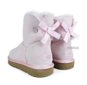 259cecd156e Details about UGG Mini Bailey Bow II Metallic Sea Shell Pink Fur Boots  Womens Size 9 *NIB*