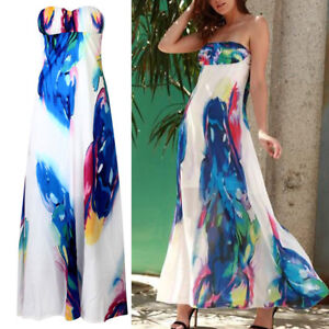 c90b8137604f65 Image is loading Women-Vintage-Sleeveless-Floral-Long-Maxi-Dresses-Party-