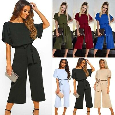 Womens Evening Party Playsuit Ladies Summer Holiday Loose Long Jumpsuit Size 16