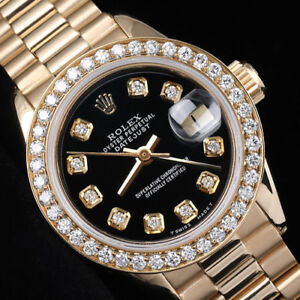Details About Rolex 26mm Presidential Black Dial 18k Yellow Gold Ladies Diamond Watch